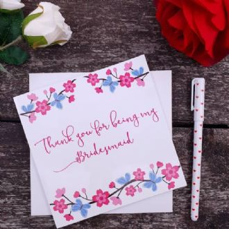 Bridesmaid Thank You Card - Thank You For Being My Bridesmaid - Summer Blossom Collection